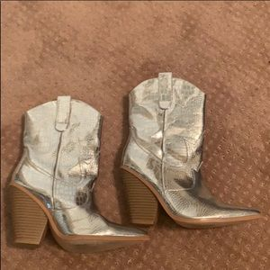Silver cowboy boots from Forever 21